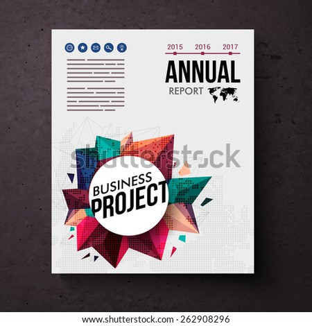 Design template for an Annual Business Report with colorful circular motif with crystal points suitable for a mining or geology themed business with editable text and date line, vector illustration - stock vector