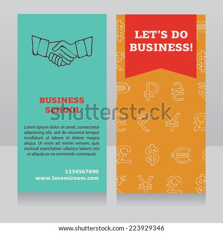 design template for  business school banner, vector illustration