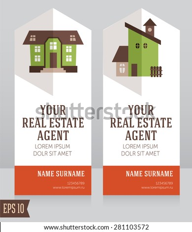 design template for real estate agent business card, vector illustration - stock vector