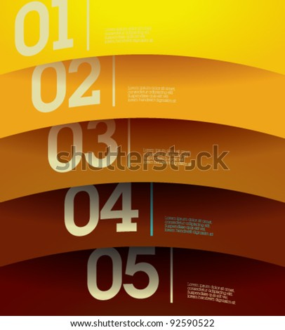 Design template - horizontal colorful cutout curvy lines / graphic or website layout vector-brown to yellow - stock vector