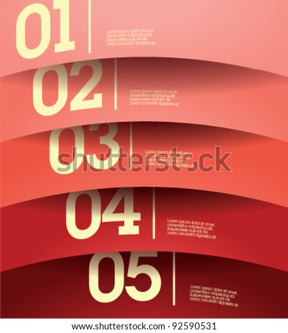 Design template - horizontal colorful cutout curvy lines / graphic or website layout vector-red to pink - stock vector