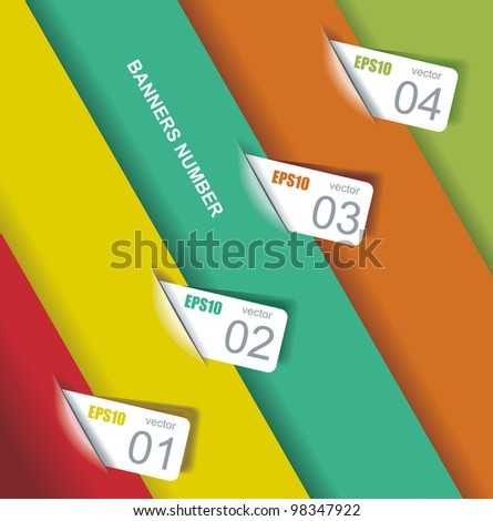 Design template numbered banners. - stock vector