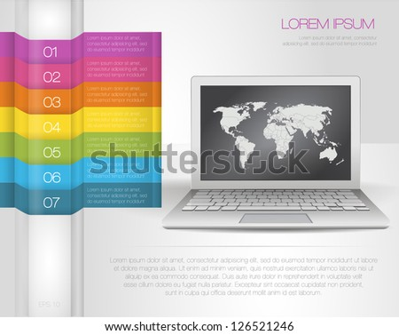 Design template numbered banners with laptop and map of the world. Rainbow infographics