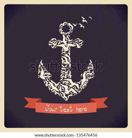 Design template with anchor of gulls. - stock vector