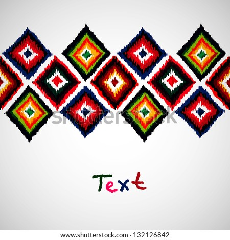 Design template with  ethnic ornament . Tribal vector seamless pattern. Hand drawn abstract background. Isolated on white background. Invitation card design. Abstract geometric design element. - stock vector