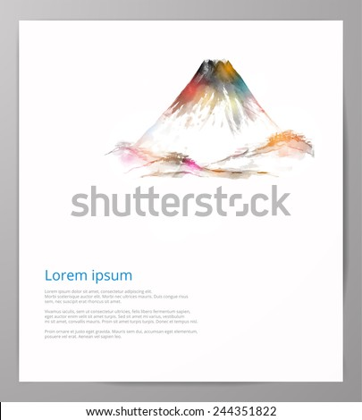 Design template with Fujiyama mountain, hand-drawn with watercolor in traditional Japanese style sumi-e. Vector illustration with Fuji.  - stock vector