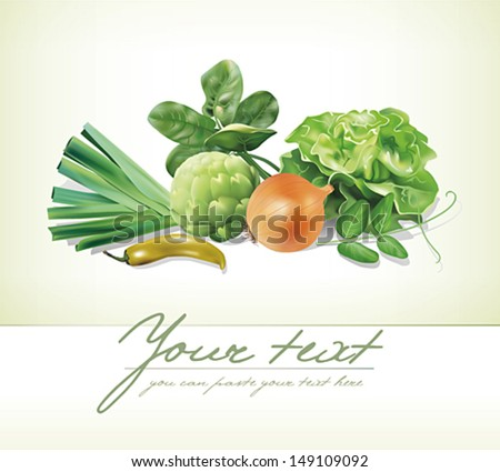 Design template with group of vegetables. Vector illustration.  - stock vector