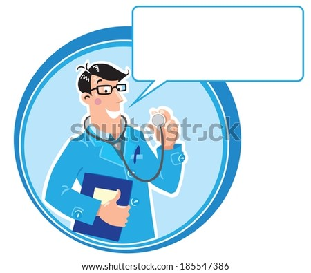 Design template with smiley doctor in light-blue coat with stethoscope and medical card in round border with balloon.