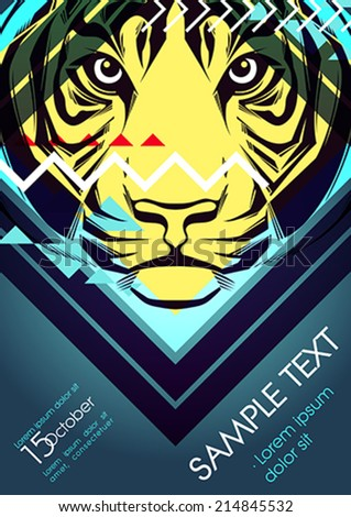 Design template with tiger and place for text. Festival poster - stock vector