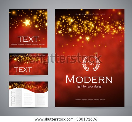 Design templates collection for banners, flyers, placards and posters. Wave light design. Shining banners set. Vector illustration - stock vector