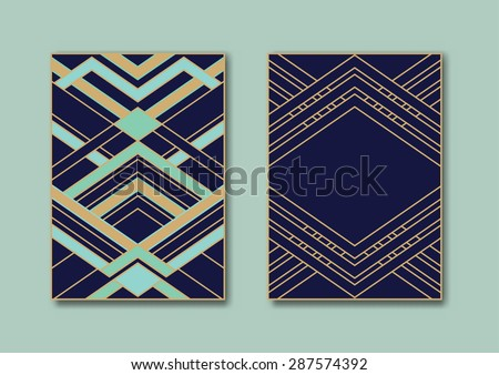 Design templates for flyers, booklets, greeting cards, invitations, retro parties and advertising. Art deco or Nouveau epoch 1920's gangster era vector. - stock vector