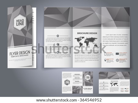 design trifold flyers brochures gray polygonal stock vector