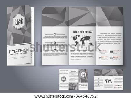 design trifold flyers brochures gray polygonal stock vector