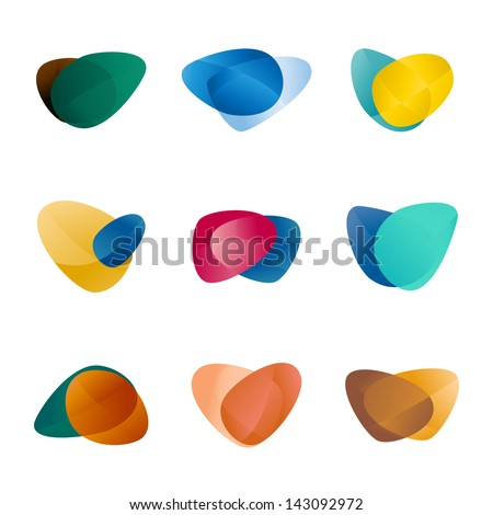 Design triangle, leaves, liver, love heart, circular arrows logo vector template. Speed icon set.You can use in the game, app, communications, electronics, agriculture, or creative design concepts. - stock vector