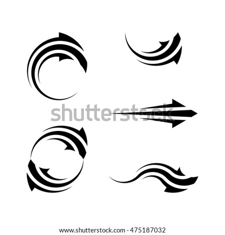 Design vector arrow sign set. Isolated simple shape arrows. Web design elements illustration
