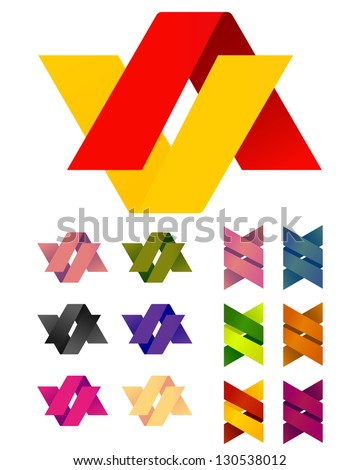 Design vector Infinite cross ribbon logo template. Colorful abstract pattern, A and V icon set. You can use in the mobile, finance,biology, chemistry, science and other commercial image. - stock vector