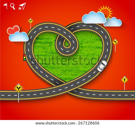 Design vector road frame in form of heart with car and traffic signs on green grass. Romantic background, Greeting card Valentine's Day, Vector Illustration EPS 10. - stock vector
