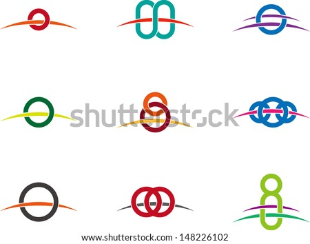 """Design vector round logo template. """"o"""", """"Q"""" letters icon set. You can use in the buildings, awards, farm, apartments and other organization concept of pattern.  - stock vector"""