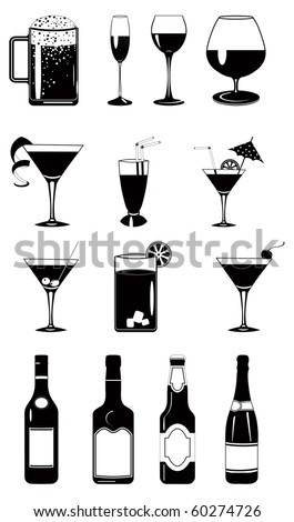 Design vector set of glasses and bottles. - stock vector