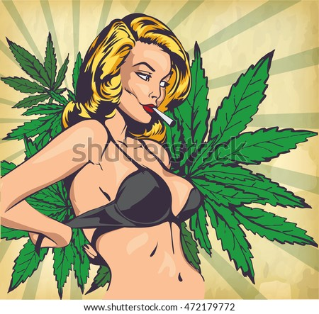 Design vector template with sexy lady undressing and cannabis leafs
