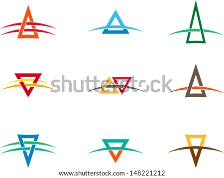 """Design vector triangle logo template. """"A"""", """"V"""" letters icon set. You can use in the buildings, awards, apartments, real estate and other organization concept of pattern.  - stock vector"""