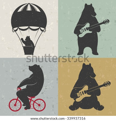 Design vintage illustration Travel Bear on balloon, bear cycling and bear with guitar. Hipster print of bears. Romantic illustration for posters and prints of t-shirt
