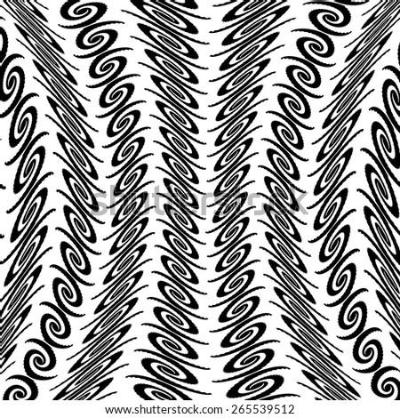 Design warped monochrome vertical decorative pattern. Abstract background. Vector art - stock vector