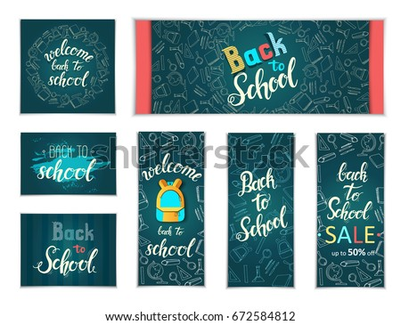 "Design Web banners of different  sizes. Hand written trendy quote 'Back to school, Back to school Sale, up to 50%"" School doodles icons and symbols. Poster, flyer, brochure, web , advertising"