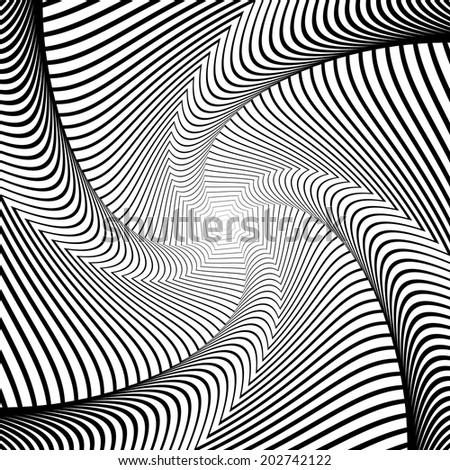 Design whirlpool movement illusion background. Abstract lines distortion geometric backdrop. Spider web twisting texture. Vector-art illustration