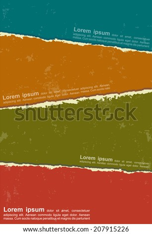 Design with colorful torn papers. Vector illustration. - stock vector