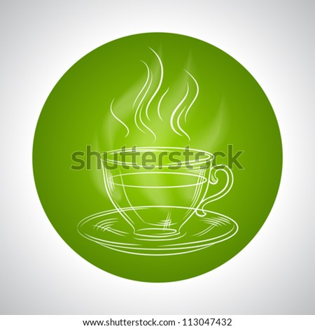 Design with cup of tea and place for text. - stock vector