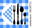 Design with cutlery silhouettes on blue tablecloth - stock photo