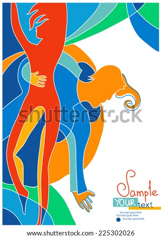Design with stylized dancing pair. With place for your text. Can use for posters, illustrations, cards, invitations, covers. - stock vector