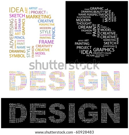 DESIGN. Word collage. Illustration with different association terms. - stock vector