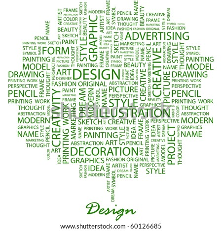 DESIGN. Word collage on white background. Illustration with different association terms. - stock vector