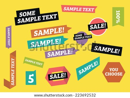 Designed stickers/tags - stock vector