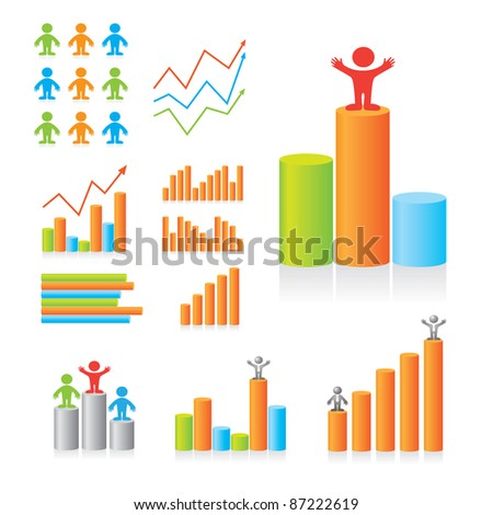 Designer Design diagrams. The leading indicators. Set of templates. - stock vector