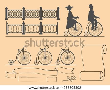 Designer of retro bicycles set of bicycles, fences and ribbons. lady and gentleman present. - stock vector