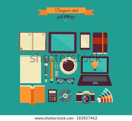 Designer's desktop, set of flat icons - stock vector