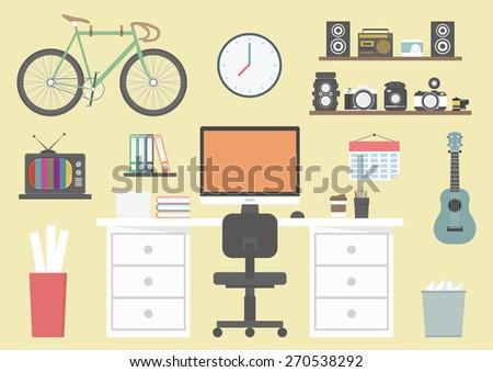 designer's equipment on desk, coffee, camera, book, workspace and creative zone, flat design - stock vector