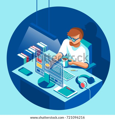 Designer sitting and working. Character, camera, computer, table and devices. Vector isometric illustration