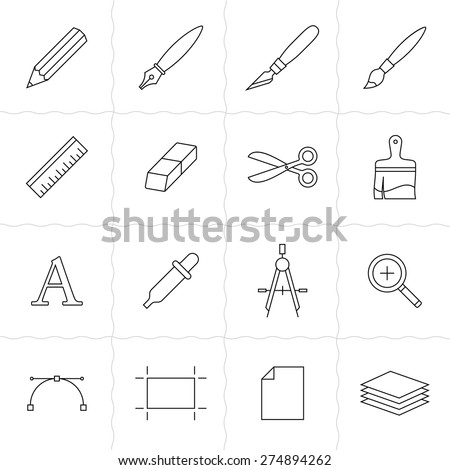 Designer tools I. Vector icons of drawing and painting tools. Simple outlined icons. Linear style - stock vector