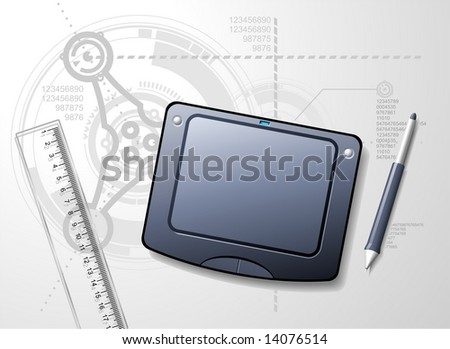 Designers desktop with tablet, stylus and ruler. Techno blue-print background. - stock vector