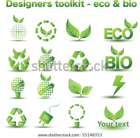 Designers toolkit - eco & bio icon set - stock vector