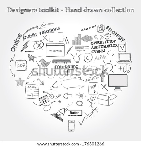 Designers toolkit - Hand drawn collection - stock vector