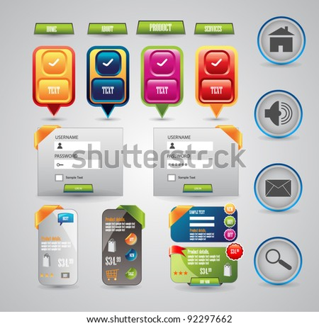 designing elements for web templates - stock vector