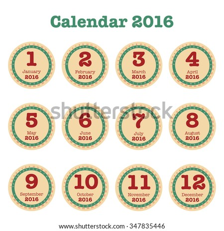 Desk Calendar for 2016. Simple Vector Template, Round shape design for calendar, Set of 12 Months - stock vector