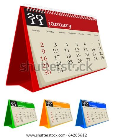 desk calendar 2011-Junuary - stock vector