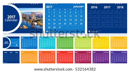 Desk calendar 2017 layout template vector set include 12 months, front cover and back cover (3 years) design for corporate business week start on Sunday.