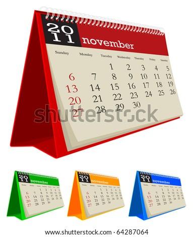 desk calendar 2011-November - stock vector
